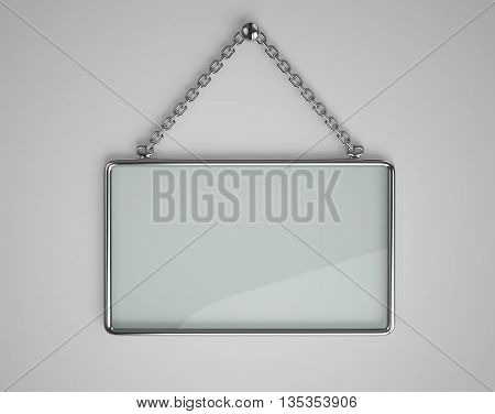 Glass board with glossy metal frame hanging on a chain. 3D rendering