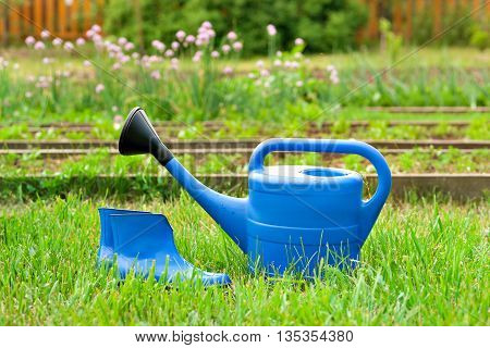 The blue plastic watering can and rubber boots on a background of the garden from the garden and trees. Bright equipment for garden care.