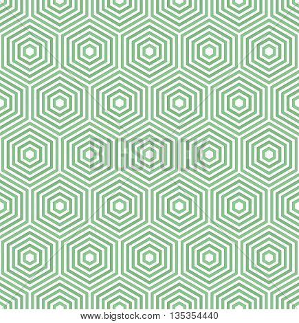 Geometric fine abstract vector hexagonal background. Seamless modern green pattern