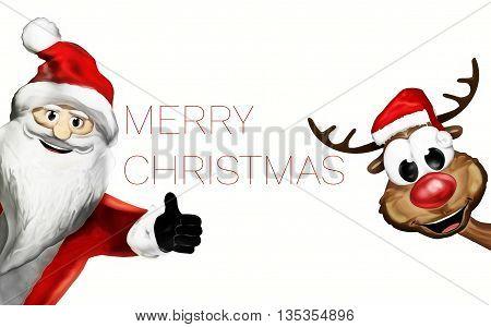Christmas Santa Claus Happy Thumbs Up 3D Render