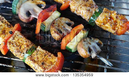 barbeque. with mushrooms and peppers carrots and beef