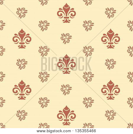 Seamless vector colored ornament. Modern geometric pattern with royal lilies