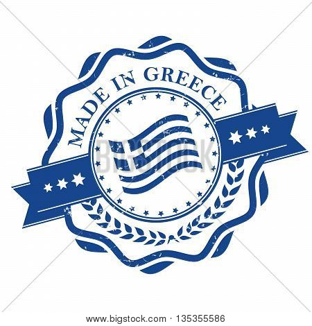 Made in Greece - stamp with the flag of Greece. Print colors used