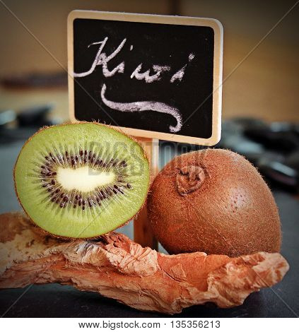 kiwi. health in a fruit. texture of the interior is impressive.