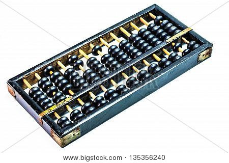 Old abacus for a calculator on a white background.