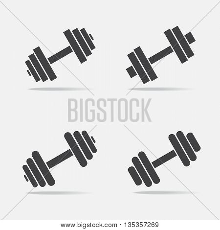 Set of dumbbell icons on white background. Vector illustration