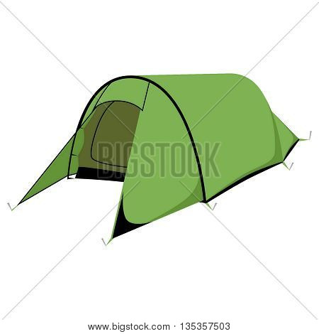 Green camping tent. Isometric 3d Green Camping tent. design. Tents vector illustration