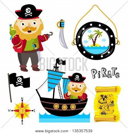 Funny one-armed pirate with parrot on his shoulder. Jolly Roger flag. Pirate ship with funny pirate with hat. Scroll with treasure map. Cartoon pirate elements for birthday or pirate party on white. Pirate cartoon concept and pirate cute symbols.
