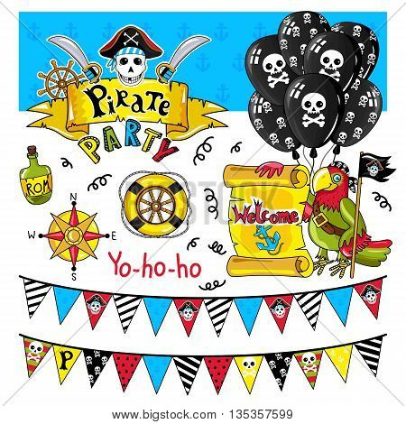 Pirate party elements for birthday. Steering wheel, bottle and other pirate symbols. Kids party elements. Pirate parrot and bottle of rum. Flags in pirate style signboard with inscription pirate. Pirate cartoon concept and pirate cute symbols.
