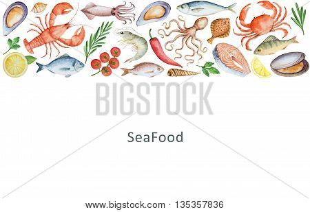 Watercolor set of seafood, vegetables and spices. The perfect design for packaging, kitchen decor, natural and organic products. Banner with place for your text.