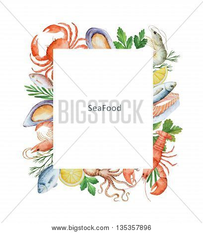 Watercolor conceptual illustration of seafood and spices. The perfect design for packaging, kitchen decor, natural and organic products. Rectangular frame with space for text.