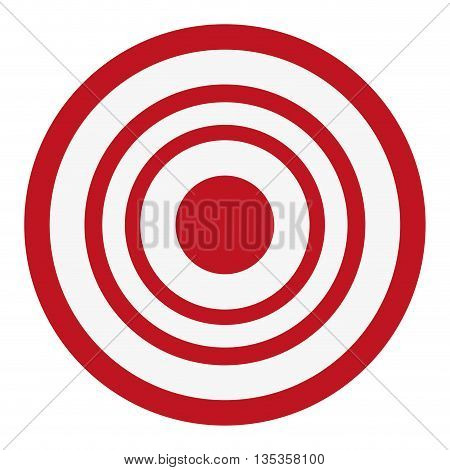 red and white bullseye target icon vector illustration