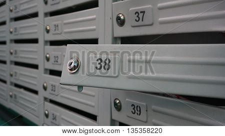 the letter box or mailbox at number thirty-eight 38