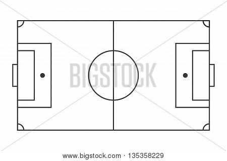 simple black line horizonal topview of football field vector illustration