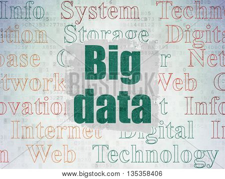 Data concept: Painted green text Big Data on Digital Data Paper background with   Tag Cloud