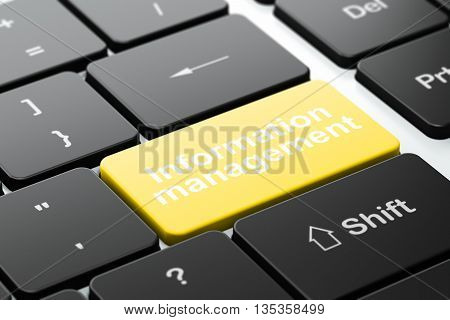 Data concept: computer keyboard with word Information Management, selected focus on enter button background, 3D rendering