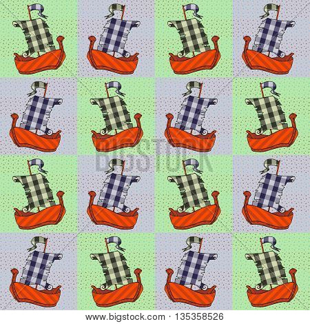 Seamless patchwork pattern with applique of little ships. Vector illustration.