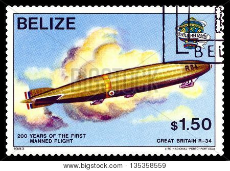 STAVROPOL RUSSIA - JUNE 20 2016: a stamp printed in Belize shows an Dirigible Great Britain R-34 200 years of manned flight cirka 1983