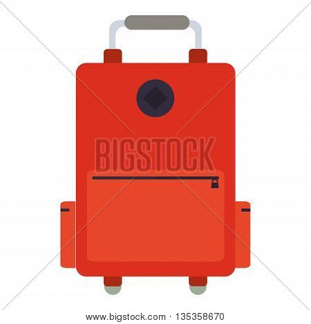 orange wheel suitcase with pockets to the sides and handle on top vector illustration