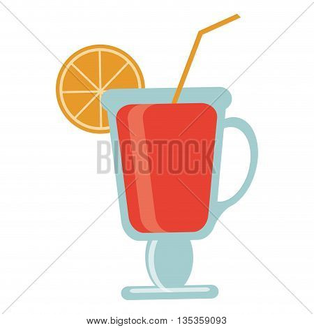 red tropical cocktail with lime on rim and straw vector illustration