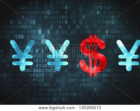 Banking concept: pixelated Dollar And Yen icon on digital background