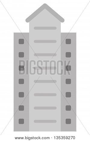 grey concrete building with angular ceiling icon vector illustration