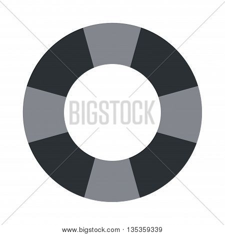 simple grey striped lifesaver icon vector illustration