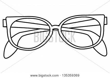 simple black line sunglasses icon vector illustration