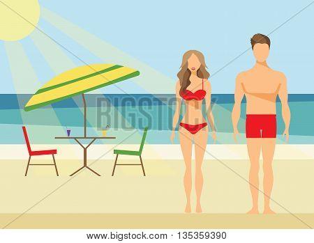 Happy Family on the Beach Man and Woman Swimwear Summer Vacation Flat Vector Illustration Set