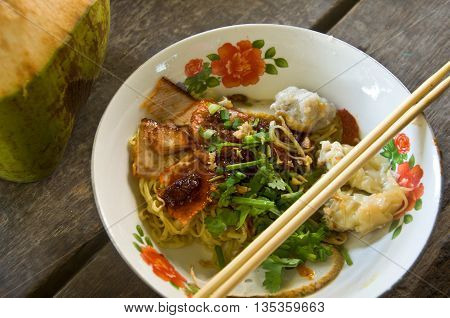 Asian style noodle with roasted red pork