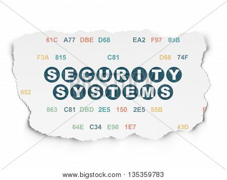 Security concept: Painted blue text Security Systems on Torn Paper background with  Hexadecimal Code