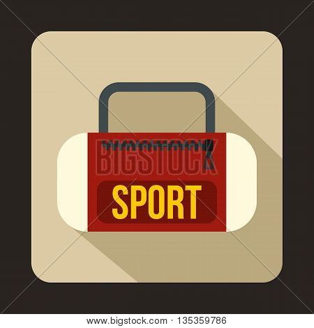 Red sports bag icon in flat style on a beige background