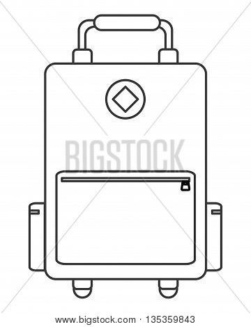 simple black line wheel suitcase with pockets to the sides and handle on top vector illustration