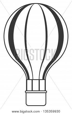 black line hot air balloon with basket vector illustration