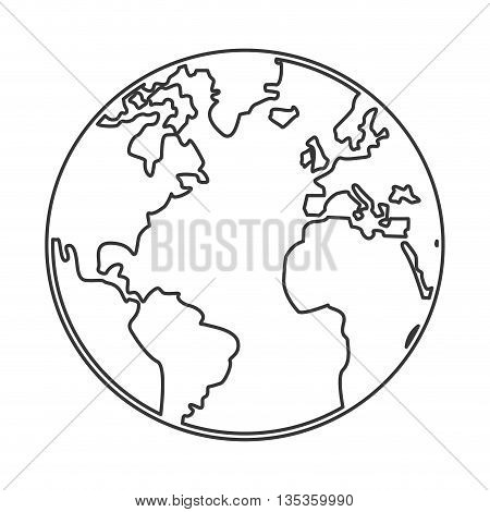 simple black line earth globe with distinction between earth and land vector illustration