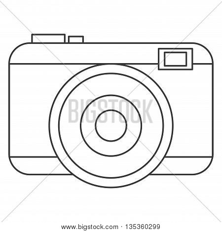 simple black line photographic camera with flash and buttons vector illustration