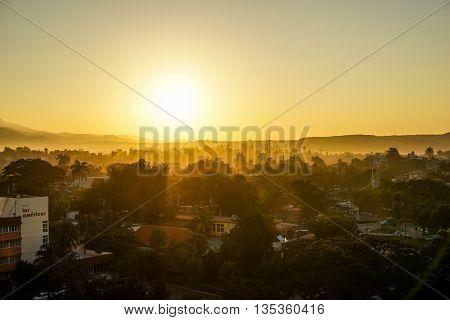 Santiago De Cuba panoramic cityscape view of the town in the morning light Cuba