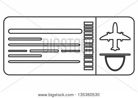 simple black line boarding pass airplane ticket vector illustration