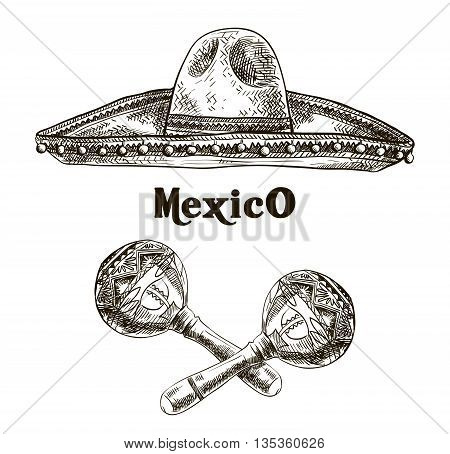 hand drawn sketches of sombrero and maracas on a white background