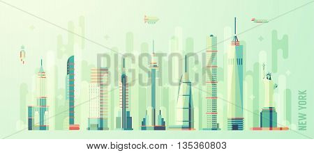 New York city skyline vector illustration flat style
