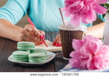 Love Letter. Closeup Image Of Woman Hands Writing Message To Valentines Day With Peony Flowers