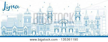 Outline Lima Skyline with Blue Buildings. Business Travel and Tourism Concept with Lima City. Image for Presentation Banner Placard and Web Site.