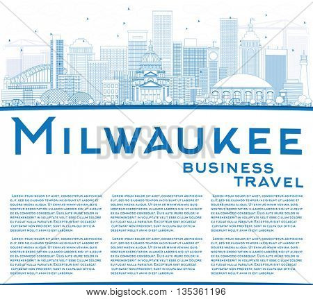 Outline Milwaukee Skyline with Blue Buildings and Copy Space. Business Travel and Tourism Concept with Modern Buildings. Image for Presentation Banner Placard and Web Site.