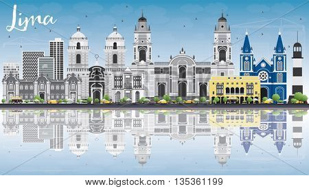 Lima Skyline with Gray Buildings, Blue Sky and Reflections. Business Travel and Tourism Concept with Lima City. Image for Presentation Banner Placard and Web Site.