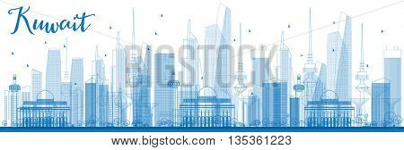 Outline Kuwait City Skyline with Blue Buildings. Business Travel and Tourism Concept with Kuwait City. Image for Presentation Banner Placard and Web Site.