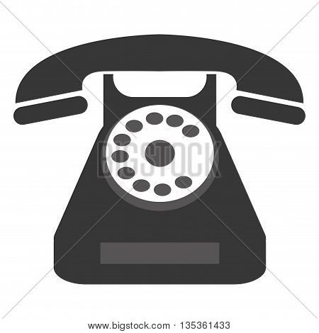 grey classic rotary dial telephone vector illustration