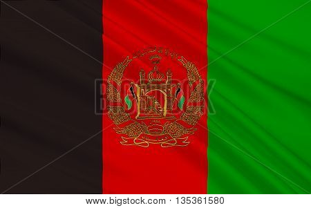 Flag of Afghanistan officially the Islamic Republic of Afghanistan is a landlocked country located within South Asia and Central Asia. 3D illustration