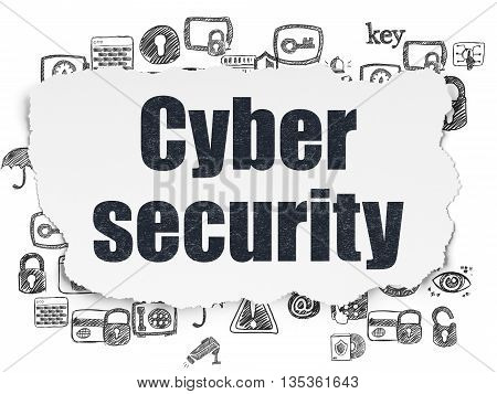 Protection concept: Painted black text Cyber Security on Torn Paper background with  Hand Drawn Security Icons
