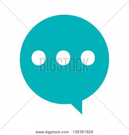 simple blue conversation bubble with three dots vector illustration