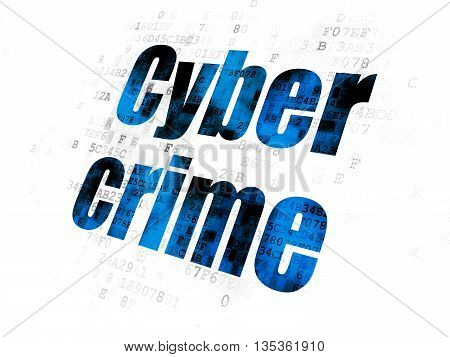 Protection concept: Pixelated blue text Cyber Crime on Digital background